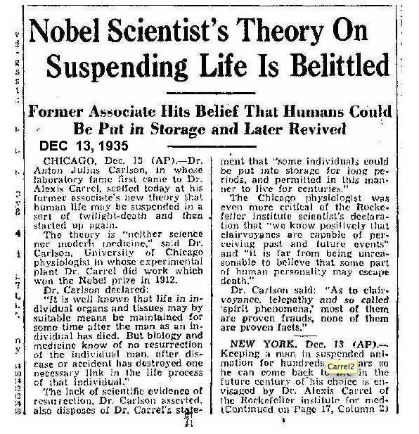 Nobel Scientists's Theory On Suspending Life Is Belitted